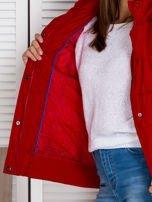 Czerwona kurtka puchowa z kapturem z futerkiem                                  zdj.                                  7