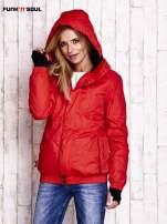 Czerwona ocieplana kurtka narciarska z kapturem FUNK N SOUL