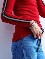 Czerwona prążkowana bluzka z golfem                                  zdj.                                  9