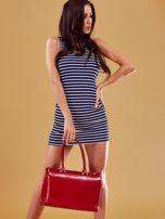 Czerwona skórzana torba damska kuferek                                  zdj.                                  2