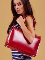 Czerwona skórzana torba damska kuferek                                  zdj.                                  3