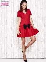Szara sukienka dresowa z kokardą z przodu                                                                          zdj.                                                                         2