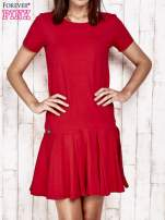 Czerwona sukienka dresowa z kokardami z tyłu                                                                          zdj.                                                                         1