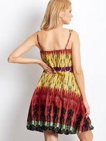 Czerwona sukienka na ramiączka w stylu etno                                  zdj.                                  5