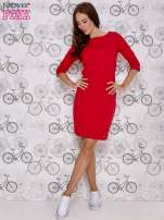 Czerwona sukienka z dekoltem w łódkę                                  zdj.                                  2
