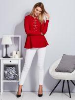 Czerwona sznurowana bluzka z baskinką                                  zdj.                                  4