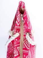 Czerwona torba plażowa w indyjskie wzory