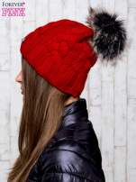 Czerwona wełniana czapka z pomponem                                  zdj.                                  2