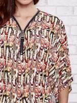 Czerwona wzorzysta koszula nietoperz z suwakiem                                                                          zdj.                                                                         6