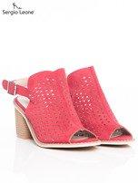 Czerwone ażurowe sandały Sergio Leone na szerokim klocku                                  zdj.                                  2