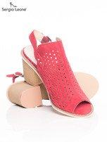Czerwone ażurowe sandały Sergio Leone na szerokim klocku                                  zdj.                                  4