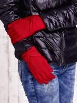 Czerwone długie rękawiczki z kokardą i prążkowanym ściągaczem                                  zdj.                                  2