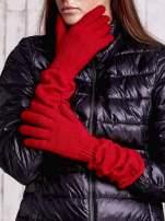 Czerwone długie rękawiczki z marszczonym ściągaczem                                   zdj.                                  1