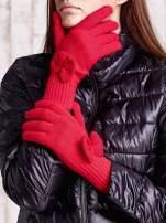 Czerwone rękawiczki z kokardką i długim ściągaczem                                  zdj.                                  1