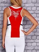 Czerwono-biały damski top sportowy z nadrukiem na plecach                                  zdj.                                  2