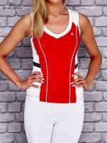 Czerwono-biały damski top sportowy z nadrukiem na plecach                                  zdj.                                  1