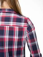 Czerwono-granatowa koszula w kratę z kieszeniami                                  zdj.                                  10