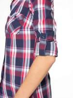 Czerwono-granatowa koszula w kratę z kieszeniami                                  zdj.                                  12