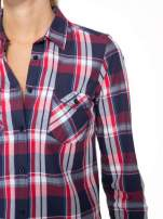 Czerwono-granatowa koszula w kratę z kieszeniami                                                                          zdj.                                                                         6