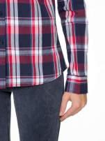 Czerwono-granatowa koszula w kratę z kieszeniami                                  zdj.                                  7