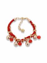 Czerwono - złota bransoletka z zawieszkami                                  zdj.                                  1