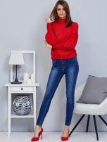 Czerwony sweter z szerokimi rękawami                                  zdj.                                  4