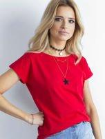 Czerwony t-shirt damski z bawełny                                   zdj.                                  3
