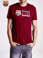 Czerwony t-shirt męski z nadrukiem FC BARCELONA                                  zdj.                                  5