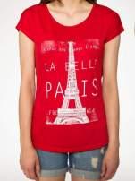 Czerwony t-shirt z motywem Paryża                                                                          zdj.                                                                         7
