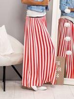 Długa spódnica maxi w biało-czerwone paski                                                                          zdj.                                                                         3