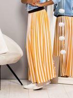 Długa spódnica maxi w biało-pomarańczowe paski                                                                          zdj.                                                                         1