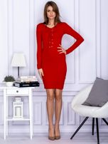 Dopasowana sukienka z wiązanym dekoltem czerwona                                  zdj.                                  4