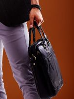 Dwukomorowa skórzana torba męska na ramię czarna                                  zdj.                                  6