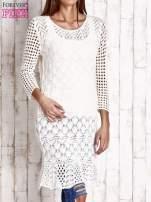 Ecru ażurowy sweter sukienka                                                                           zdj.                                                                         3