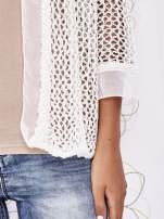 Ecru ażurowy sweter z tiulowym wykończeniem rękawów                                  zdj.                                  5
