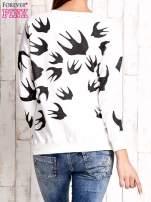 Ecru bluza w jaskółki z wiązaniem                                  zdj.                                  4