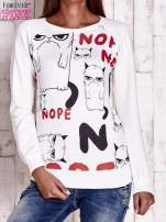 Ecru bluza z kocim motywem                                   zdj.                                  1