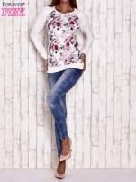 Ecru bluza z motywem róż                                                                          zdj.                                                                         2