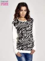 Ecru bluza z nadrukiem zebra print                                  zdj.                                  1