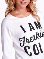 Ecru bluza z napisem I AM FREAKING COLD