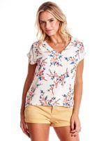 Ecru bluzka z motywem kwiatu wiśni                                  zdj.                                  1