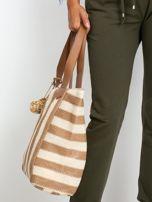 Ecru-brązowa torba w paski                                  zdj.                                  3