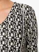 Ecru-czarna bluzka w geometryczne wzory z suwakami                                  zdj.                                  6