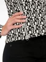 Ecru-czarna bluzka w geometryczne wzory z suwakami                                  zdj.                                  7