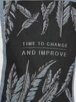 Ecru-czarny t-shirt z nadrukiem piórek zdobionych dżetami                                  zdj.                                  7
