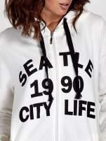 Ecru damska bluza z kapturem i napisem SEATLE 1990                                  zdj.                                  6