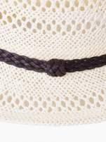 Ecru damski kapelusz kowbojski z ciemną plecionką                                  zdj.                                  9
