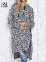 Ecru długi sweter z kapturem                                  zdj.                                  1