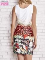 Ecru dopasowana sukienka z motywem pantery                                  zdj.                                  2