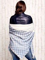 Ecru-niebieska wełniana chusta w kwadraty                                                                          zdj.                                                                         2